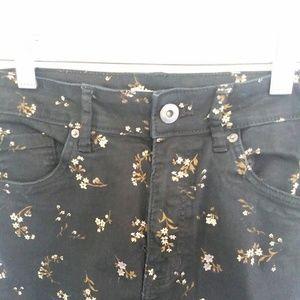 [ H&M black floral skinny jeans size 8 ]